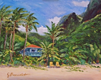 Print of Original Oil Painting Landscape Tropical Fine Art  Impressionist Kauai