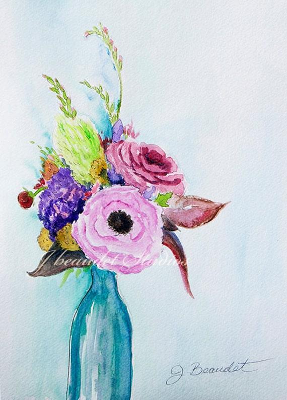 Original Floral Watercolor Illustration by J Beaudet On Sale