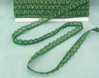 8 yards Vintage Green and Gold Rick Rack trim