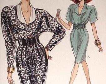Uncut 1980s Vogue 7404 Misses and Misses Petite Dress in sizes 12 14 16