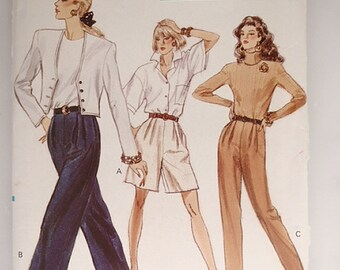 Misses Shorts and Pants pattern, Uncut 1980s Vogue 7284  in sizes 14,16 and 18