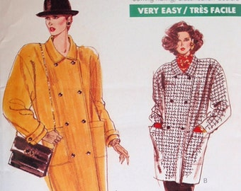 Misses Coat  Pattern, Overlock Serger sewing, Uncut 1980s Very Easy Very Vogue in two lengths in sizes 14, 16 and 18.