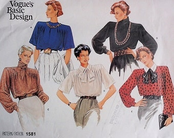 Blouse pattern, Uncut Vogue Basic Design 1581 Misses Blouse in Size 14 in 5 variations, short or long sleeves, front and back tucks