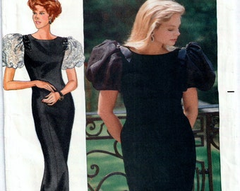Evening Dress Pattern,1980s Designer Rimini Butterick 4463, long and short variations Misses Dress in sizes 8, 10 and 12