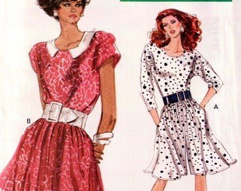 Uncut 1980s Pantdress & Dress pattern, Uncut Vogue 7489 Misses,  in sizes 12, 14, and 16
