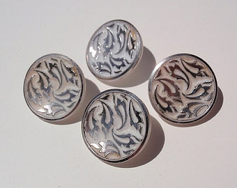 Vintage Buttons, 4 White  Round Molded Plastic Buttons with an etched silver design,  with Shanks, 3/4 inch