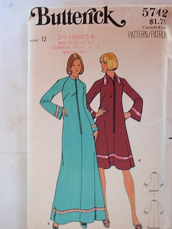 Robe Pattern, Uncut 1960s Butterick 5742 Misses Robe in size 12 in 2 variations