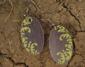 oval earrings-leaves-spring green