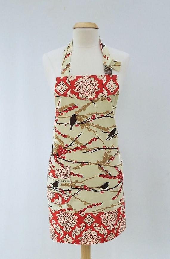 Apron- Sparrows Full Apron made with Joel Dewberrys Aviary2 Collection, Sparrows in Bark, Womens Full Apron