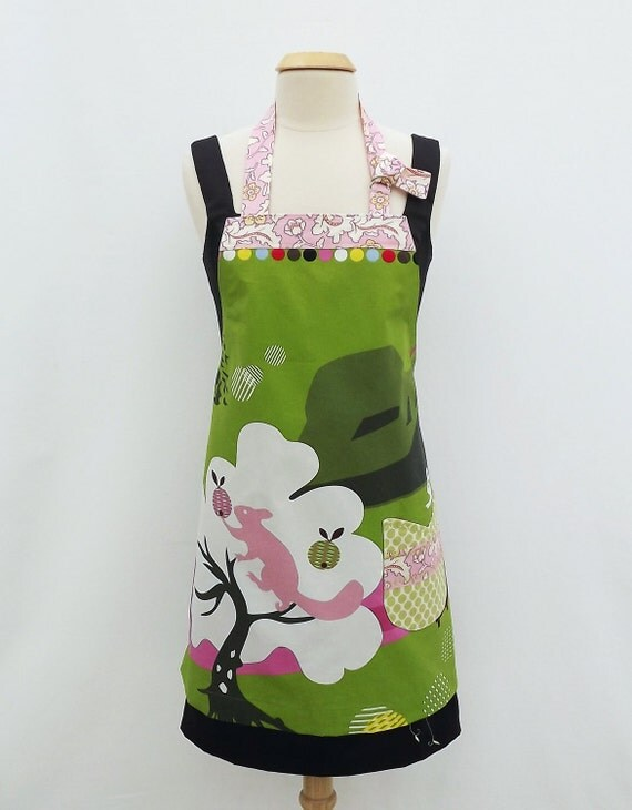 Apron- Pink Squirrel after Acorns Chefs Apron with IKEA Fabric -Full Apron