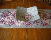 Spring Pansy Table Runner and Fabric Bowl Set w/ free first class shipping