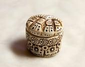 tiny faux carved ivory trinket box
