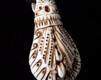 "faux carved ivory pendant-- ""Budding"""