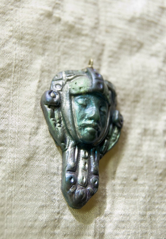 Art Deco Style Face Pendant--  Silvery Woman in Armor
