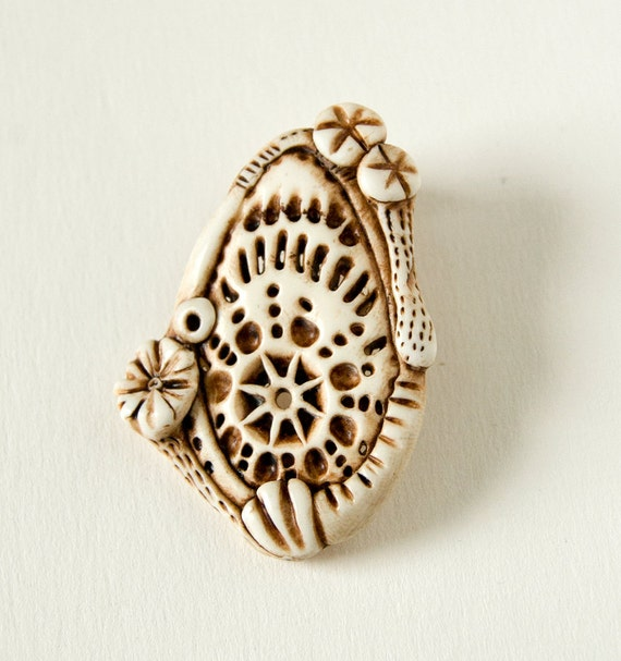 handmade faux ivory carved pendant or focal bead-- Underwater 4