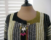 Free Shipping- Hand knitted   cardigan sweater Striped  Long 1X size