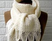 White Winter Fashion Scarf Cowl Neckwarmer Lace Fringe