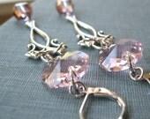 Katharine - Pink crystal long silver earrings - Elysia