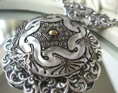 Winter Moon - White glass silver filigree necklace - Snow Queen