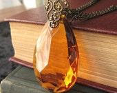 Autumnal Beauty - Large orange crystal necklace - Honeyed