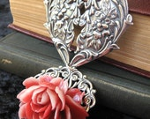 Queen of Hearts - Red white rose silver necklace - Bountiful Winepress