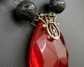 Apocalypse at Sunset - Red crystal black lava necklace - Bountiful Winepress