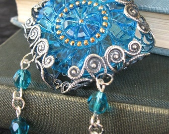 Transcendence Rose Window IV Cathedral - Blue glass silver statement necklace - Elysia