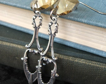 Silver and Gold - Gold crystal silver earrings - Elysia