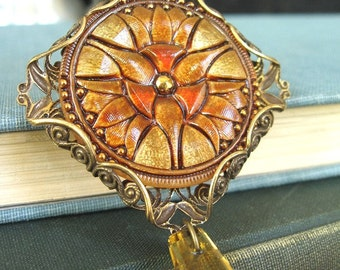 Rose Window VII Cathedral - Orange glass filigree crystal necklace - Elysia and Honeyed