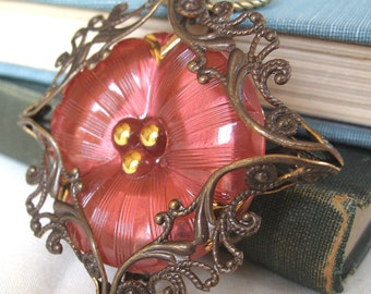 Pansy III - Pink flower filigree necklace - Elysia