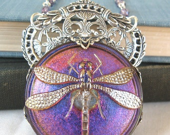 Purple Dragonfly - Iridescent violet silver necklace - Elysia