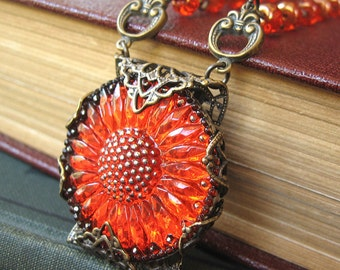 Sunflower Sunset - Red glass flower necklace - Elysia