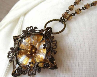 Pansy VI - Silver gold flower filigree necklace - Elysia