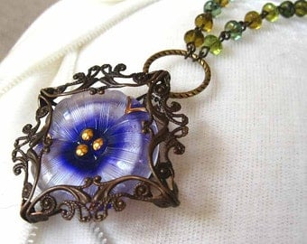 Pansy VII - Purple white flower filigree necklace - Elysia