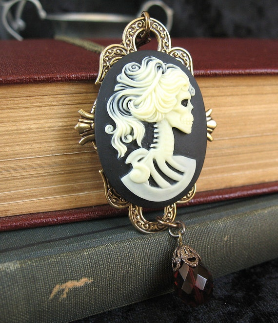 Resistance of Memory - Skeleton cameo gothic necklace - Bountiful Winepress