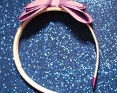 Fun and Funky Blingin' Purple Bow Headband with Rhinestones
