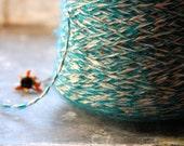 Teal and ecru wool yarn -Destash