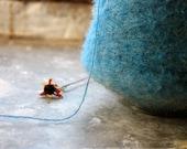 Rich blue destash Mohair yarn - 100 yards