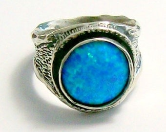 925 Sterling silver Blue Opal  Ring