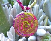 Abstract Swirl Fuschia, Green, Purple Polymer Clay Necklace Pendant