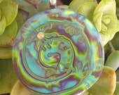 Abstract Swirl Turquoise, Lime, Purple Polymer Clay Pendant Necklace