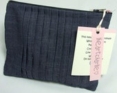 Pleated Denim Pouch with zip closure and red and white floral lining - Marnie