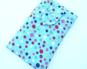 iPhone/Gadget Case - Blue Confetti Print Button and Belt Closure