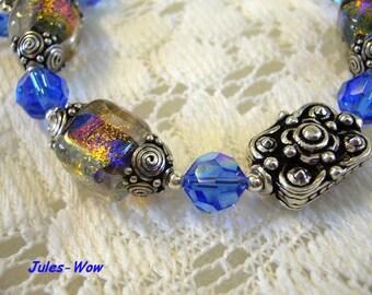 SALE - Blue Fire Dichroic Sterling Bracelet