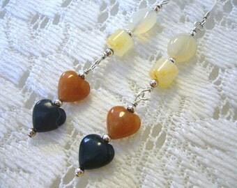 Twin Hearts Gemstone and Sterling Dangle Earrings