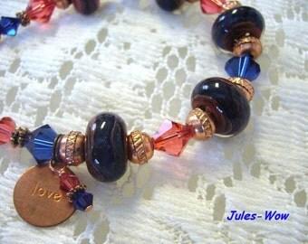 Signature Blue Copper Boro Beaded Bracelet