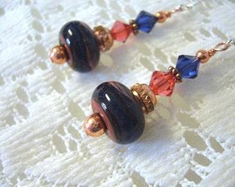 Blue Copper Boro Dangle Earrings