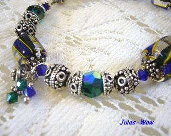 SALE - Candy Stripe Dark Blue And Green Bali Sterling Bracelet