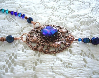 Twilight Blue Copper Victorian Necklace And Pendant