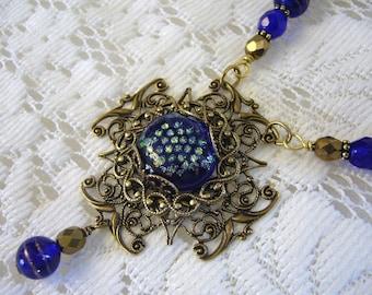 Midnight Blue Ink Victorian Cross Necklace